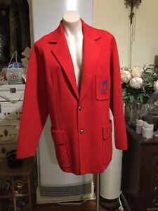 Vintage Unisex Mens Womens Red Knit Jacket Cardigan Emblem Wool Size 44 SPINELLI