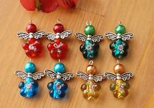 8x Mixed Angel Charms Lampwork Flowers Beads Wings Silver