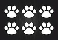 Set 6xaufkleber sticker auto motorrad macbook laptop pfote tier hund  katze weiß