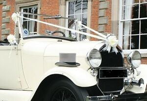 Luxury White Wedding Car Kit Waterproof  3 Large Bows and Ribbon x 6mts
