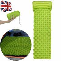 Ultralight Inflatable Camping Air Blow Up Mattress Bed Sleeping Mat Pad + Pillow