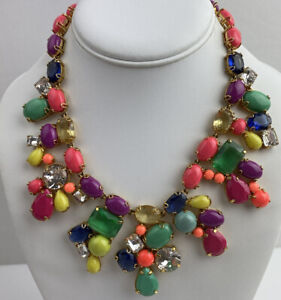 J Crew Gold Tone Candy Rainbow AB Rhinestone Pink Resin Cluster Necklace