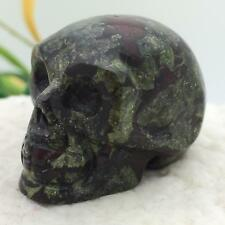 """1.5"""" Natural Dragon Blood Stone Carved Crystal Skull Realistic Healing #7468"""