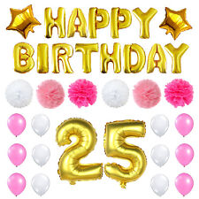 25th Birthday Party Supplies 25 Foil Latex Balloons Paper Pom Pom Decoration