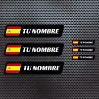 6 x BANDERA ESPAÑA NOMBRE PEGATINA VINILO CASCO BTT BICICLETA PERSONALIZABLE