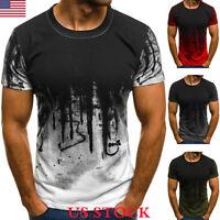 Men Slim Fit Camo Short Sleeve Gym Muscle Tee Shirt Casual T-shirt Tops Blouse