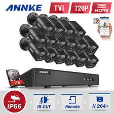 ANNKE 16CH 1080N HD TVI H.264+ DVR 16x 1500TVL 720P Security Camera System 1TB
