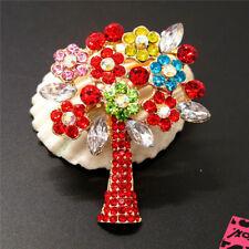 New Red Crystal  Hope Tree Flower Rhinestone Betsey Johnson Charm Brooch Pin