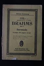 SHEET MUSIC BOOK: J. Brahms Serenade in D major for full Orchestra Eulenburg