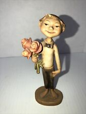 anri wood carvings italy Vintage Boy with Roses