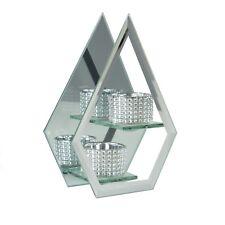 Decorative Mirrored Glass Tea Light Candle Holder X2