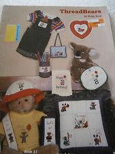 1982 Thread Bears Cross Stitch Pattern Book Teddy Hug Love Balloon X-Mas Baby