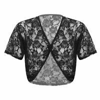 Women's V Neck Short Sleeve Floral Lace Mesh Crop Top T-shirt Short Tank Blouse