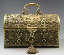 C1890s French Art Nouveau Bronze Strong Box Velvet Lined Jewelry Box w/ Key