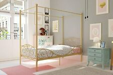 Elegant 4 Corner Post Canopy Metal Bed w/ Sturdy Bed Frame - Gold Twin