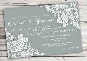 PERSONALISED RUSTIC GREY LACE WEDDING INVITATIONS PACKS OF 10