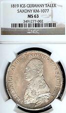 German States Saxony 1819 IGS Taler Coin NGC MS63 F.STG Thaler Deutschland CAMEO