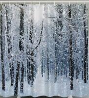 Snow Shower Curtain Fabric Christmas Winter Tree Forest Snowflake Bath Decor