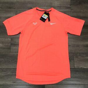 New Nike Rafa Nadal Aeroreact Tennis Shirt Mens Small Orange CI9152-854