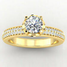 0.86 Ct Round Solitaire Diamond Engagement Ring 14K Yellow Gold Rings Size N O P