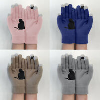Knitted Gloves Women Lady Mittens Unisex Thermal Full Gloves Animal Cat Print