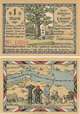 Germany 1 Mark 1920 Notgeld Lutzhoeft in Angeln UNC Uncirculated Banknote