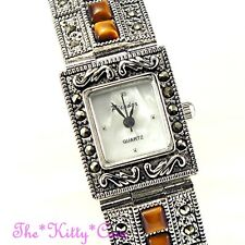 Silver Vintage Genuine Marcasite & Tigers Eye Semi Precious Gems Bracelet Watch