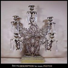 Rare 1840-60 Impressive Large 5 Arm Brass / Bronze Girandole Candelabra Grapes