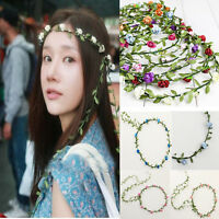 New Ladies Girls Floral Flower Garland Forehead Hair Head Band Wedding Festival