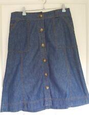 Debenhams Casual Collection Denim Skirt Dark Wash Button Down Midi Size 10