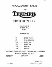 Triumph Parts Manual Book 1958 T110 TIGER 110, TR5 TROPHY & TR6 TROPHY