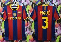 Barcelona Pique #3 2010 2011 Home Football Shirt Soccer Jersey Top Nike Mens S