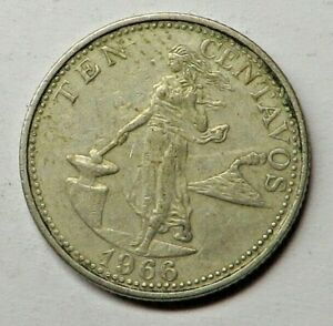 Philippines 10 Centavos 1966 Copper-Nickel-Zinc KM#188 UNC