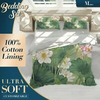 Lotus Floral Flowers Green Quilt Cover Doona Duvet Cover w 2 Pillowcases