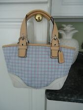 COACH CANVAS TATTERSALL BLUE PLAID SM BAG PURSE NWOT