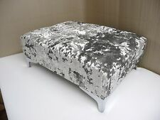LARGE BUTTON TOP FOOTSTOOL IN A QUALITY SILVER CRUSHED VELVET SHABBY CHIC LOOK