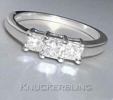 Diamond Trilogy 3-Stone Ring 0.50ct F VS Princess Cut in 18ct White Gold Ring