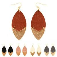 Textured Leather with Metal Tip Marquise Earring