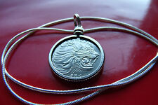"""LARGE LION! Classic African Roaring Lion Pendant on a 30"""" 925 Silver Snake Chain"""
