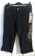 Style and Co, Black Embroidered Capri Trousers with Tags - UK Size 6 / US Size 4
