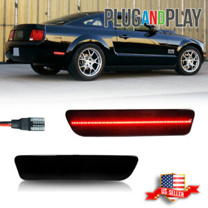 Smoked Rear Bumper Reflector Side Markers Red LED Light For 2005-09 Ford Mustang