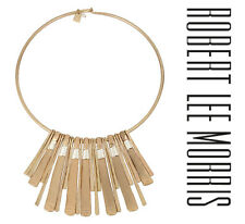 Robert Lee Morris Gold Two-tone Statement Round Wire Wrap Necklace Signed