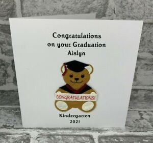 "Personalised Graduation Teddy Card 6"" Degree Nursery Daughter Son Kindergarten"