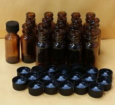 20 AMBER 1/2 oz 15 ml Clear Boston Round Glass Bottles With Black Cap FREE SHIP