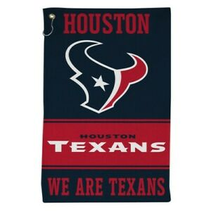 """HOUSTON TEXANS ALL PURPOSE GOLF TAILGATE TOWEL 16""""X25"""" HOOK AND GROMMET"""