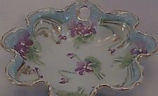 Fluted Ceramic Candy Dish - Purple Flowers Green Leaves White Field Gold Gilt