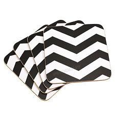 Premier Housewares Chevron Coasters - Black/white Set of 4