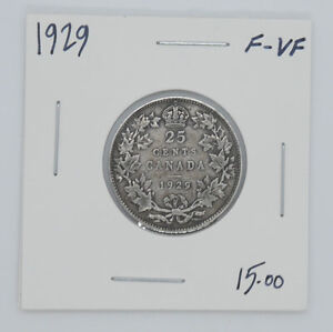 1929 Canadian silver coin 25 cents F VF condition