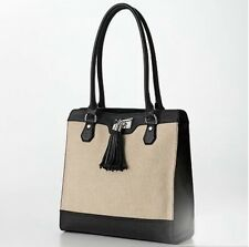 NWT Dana Buchman Linen Black Tracy Tote Bag Purse With Tassel Summer Beach Bag