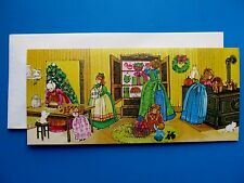 Vintage Christmas Card UNUSED Family Girls In Kitchen Baking Cookies For Gifts
